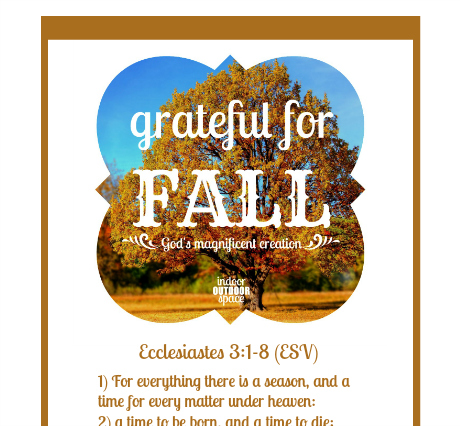 Ecclesiastes chapter 3 printable scripture verse with Fall season theme