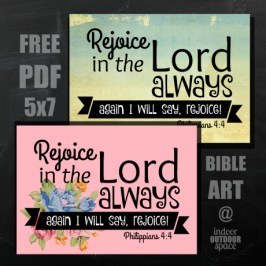 Free printable scripture art of Philippians 4 Rejoice in the Lord