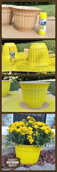 Easy spray painted pots for Autumn outdoor decor