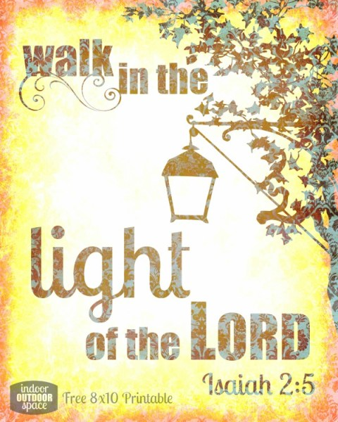 Walk in the Light Free Printable Bible Verse