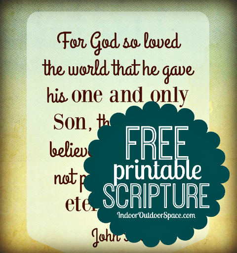 graphic about Printable Bible Verses Pdf referred to as Absolutely free Scripture Artwork Down load towards Print against John 3:16 Indoor
