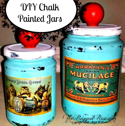 Easy Chalk Painted Jars and Bottles
