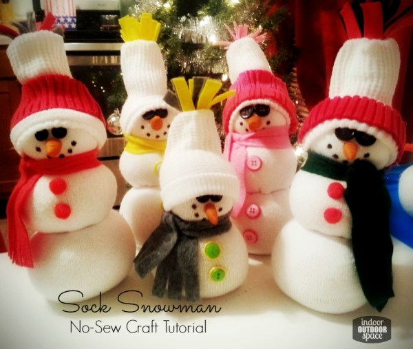 Super Cute and Easy No-sew DIY Sock Snowman Craft Tutorial at Indoor Outdoor Space