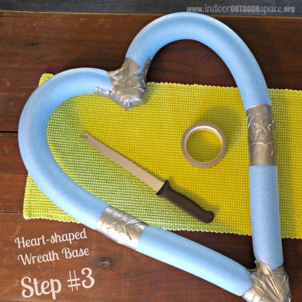 Pool Noodle Heart Shaped Wreath Base Craft Tutorial Step Three