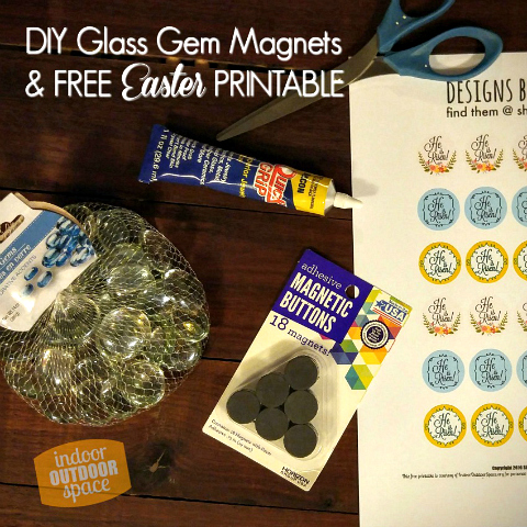 DIY Glass Gem Magnets with Free Printable 1 inch circles