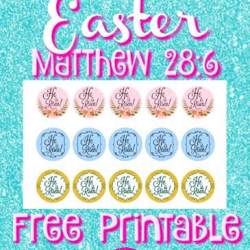 Easter He is Risen Scripture 1-inch Circles Free Printable