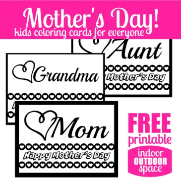 Happy Mothers Day Kids Coloring Cards Free Printable