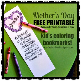 Free Printable Mothers Day Scripture Proverbs 31 Kids Coloring Bookmarks at Indoor Outdoor Space