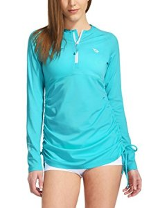 63958d40576a8 Women's Long Sleeve Half-Zip Sun Protection Rashguard Swim Shirt