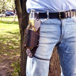 Beer Holster – Genuine Leather Beer Belt (or Soda) Holster