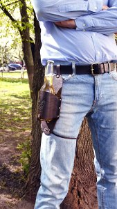 summer, beer, drink holster, novelty gift, holiday gift, groomsman gift, Father's Day gift, camping, tailgating, BBQing