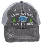 Camping Hair Don't Care, women's trucker style hat