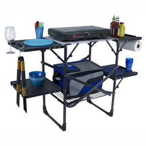 folding, portable, camp kitchen, grilling, cooking, barbecue, bbq, picnic, beach, park, camping, glamping