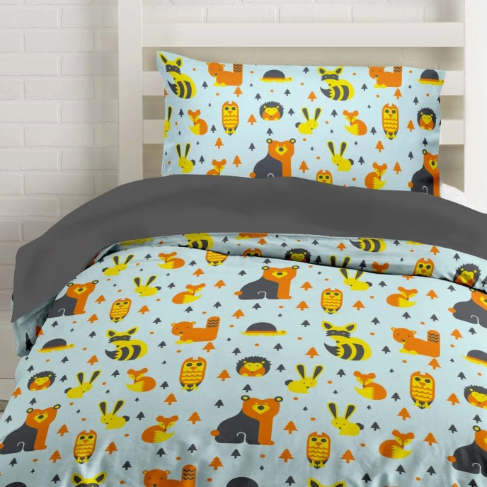 Woodland Creatures Microfiber Duvet & Sheets Bedding Set with Owls, Foxes and Bears Full, Queen, Twin