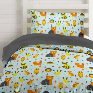 duvet cover, kids bedding, sheets, woodland creatures, camping, camp, glamping, staycation, full, queen, twin