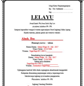 Surat Lelayu Dalam Bahasa Jawa, Contoh Lelayu Dalam Bahasa Jawa, Berita Kematian atau Pawartos Lelayu