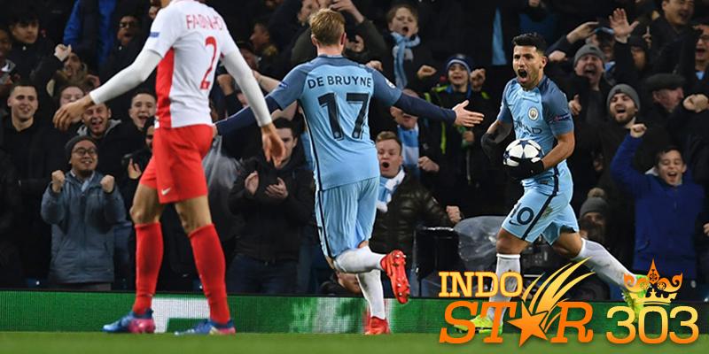 Agen Bola Terpercaya - Selebrasi gol Sergio Aguero ke gawang Monaco