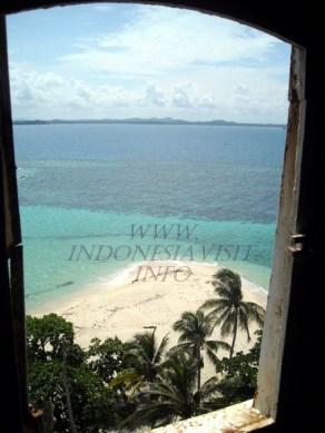 view to the beach, lengkuas island lighthouse