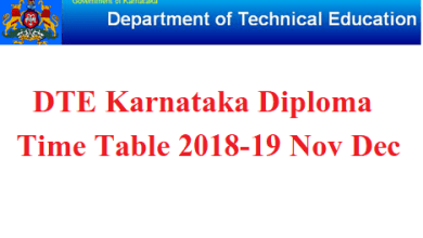 DTE Karnataka Diploma Time Table 2018-19 Nov Dec