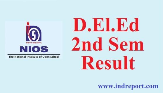 NIOS D.El.Ed 2nd sem Result 2018