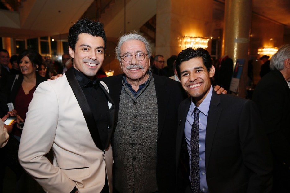 """From left, cast member Matias Ponce, actor Edward James Olmos and cast member Andres Ortiz pose at the party for the opening night performance of """"Zoot Suit"""" at Center Theatre Group/Mark Taper Forum on Sunday, February 12, 2017, in Los Angeles, California. (Photo by Ryan Miller/Capture Imaging)"""