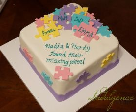 Puzzle Piece Adoption Shower Cake