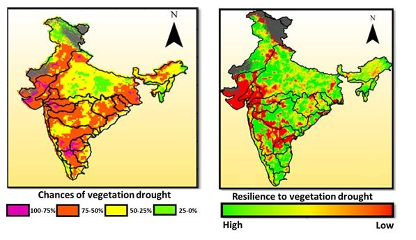 Two images showing 1. Chances of vegetation drought & 2. Resilience to vegetation drought.
