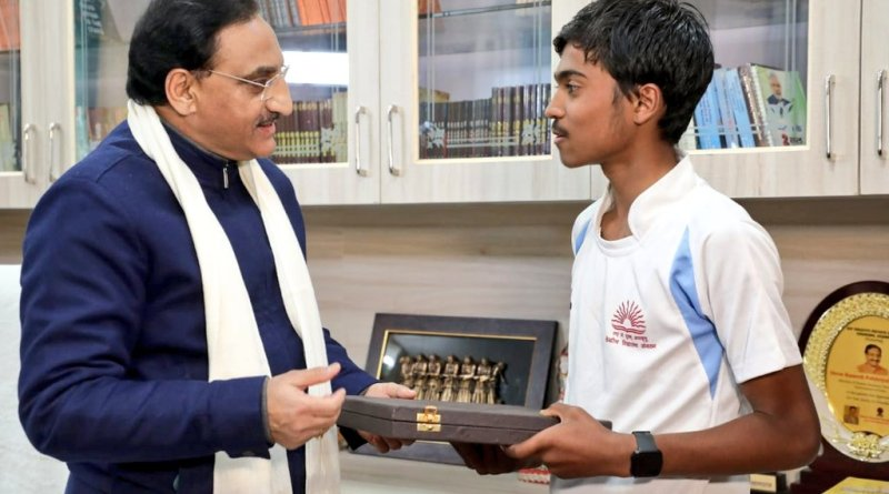 HRD Minister Pokhriyal felicitates KV student Harsh Pandit, who ran 900 km in 18 days