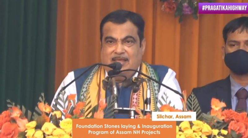 Minister gadkari laying foundation stone of projects in Assam