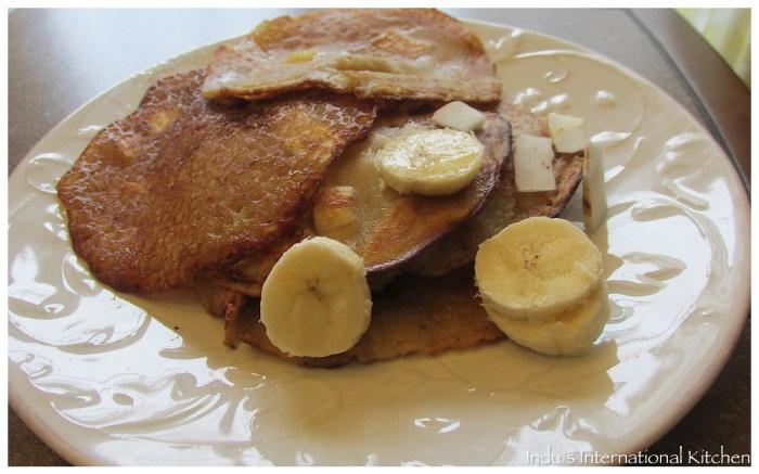 Whole wheat banana pancakes (Appams)