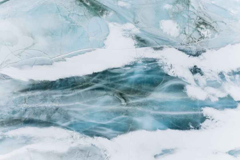 the frozen surface of a lake