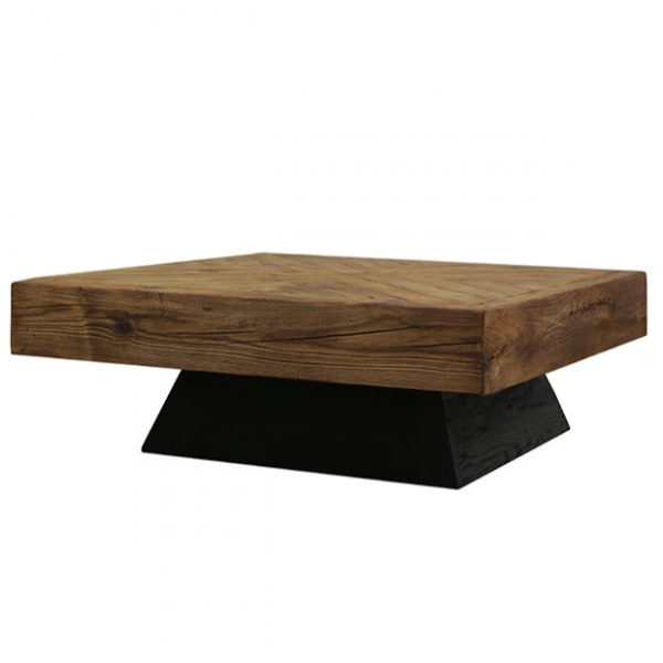 Salontafel visgraat 100×100 Reclaimed wood Industrial 66 Tholen
