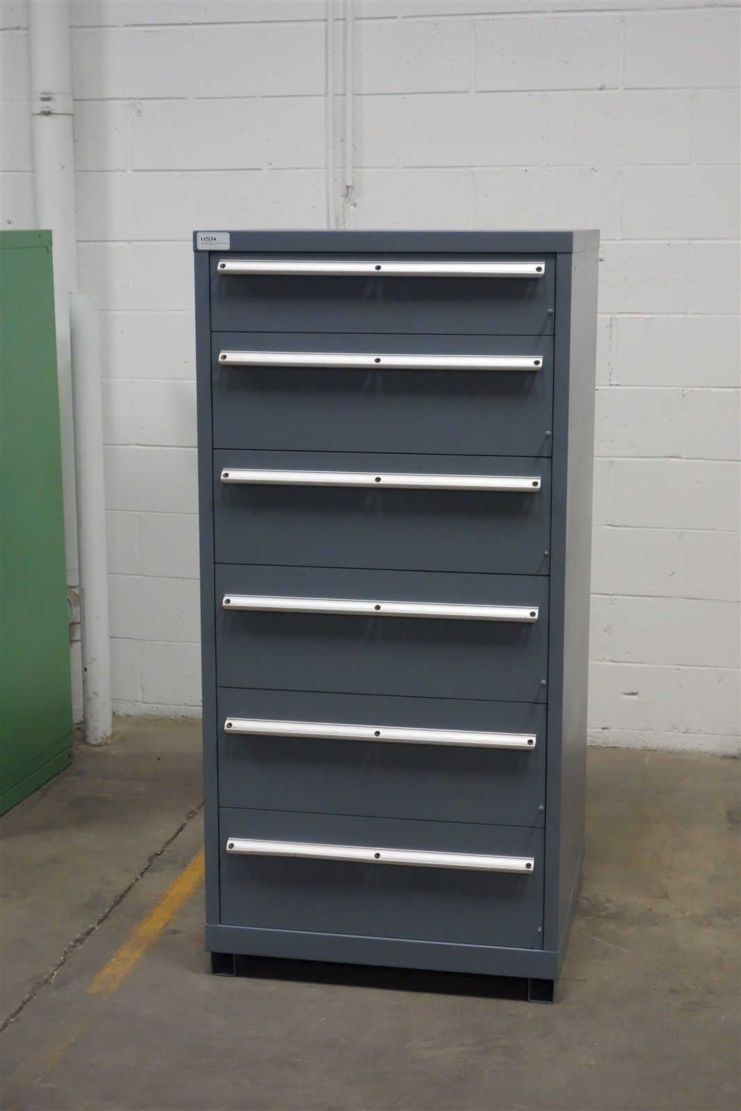 Used Lista 6 drawer cabinet industrial tool parts storage