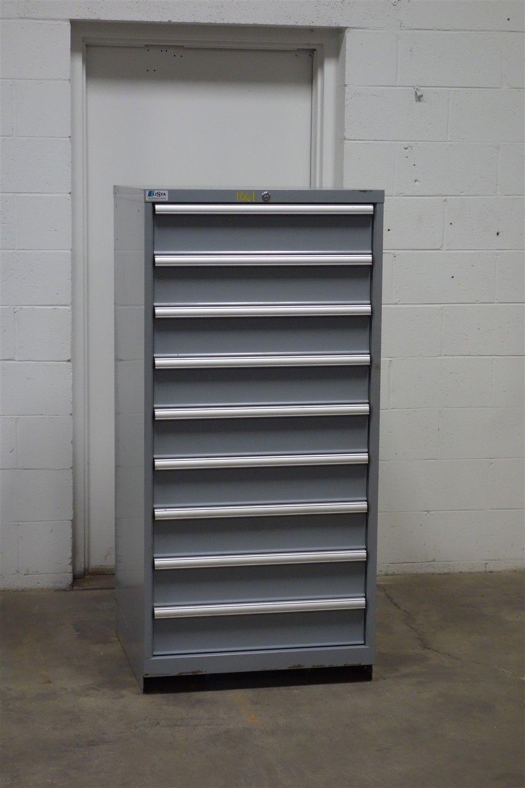 Used Lista 9 drawer cabinet industrial tool storage bin