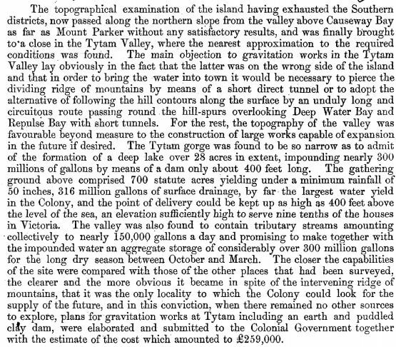 Surveyor General's Report on the Tytam Water-works 1885 s