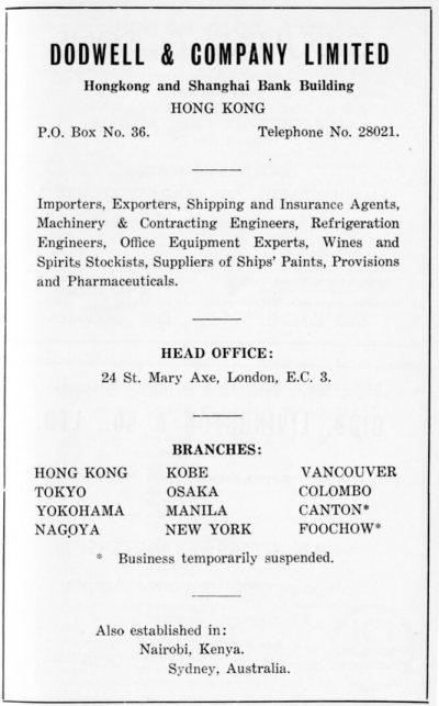 Dodwell & Company Ltd-agent-advert-1953