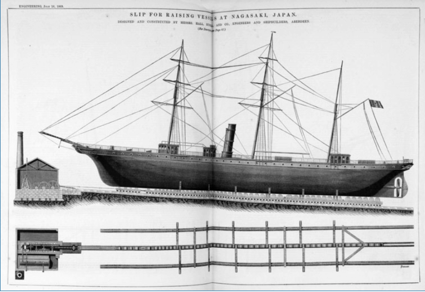Hall, Russell & Company, 1869 Image Slip For Raising Vessels At Nagasaki, Japan, Grace Guides