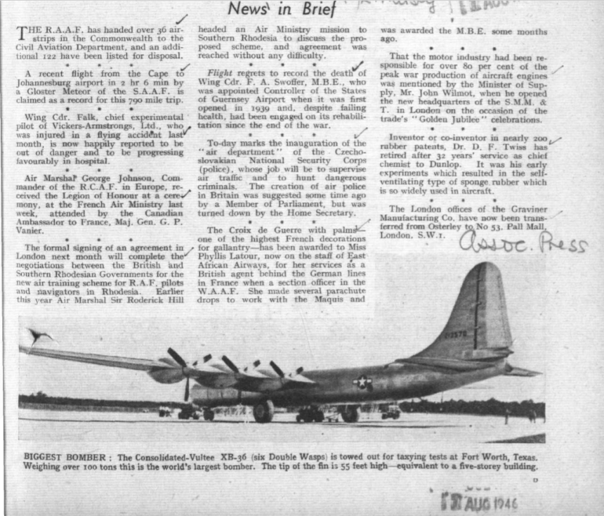 FA Swoffer Announcement Of Death Flight Magazine 1st August 1946