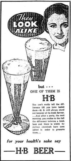 H B Beer advert from Beer in Hong Kong Martyn Cornell