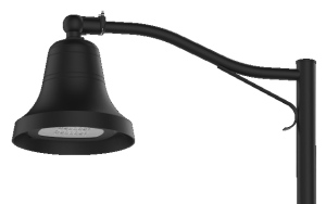 mission bell luminaire with mast arm