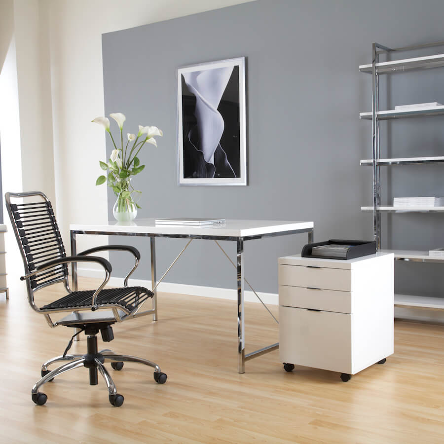Gilbert Desk White with Chrome Steel Frame  Vancouver