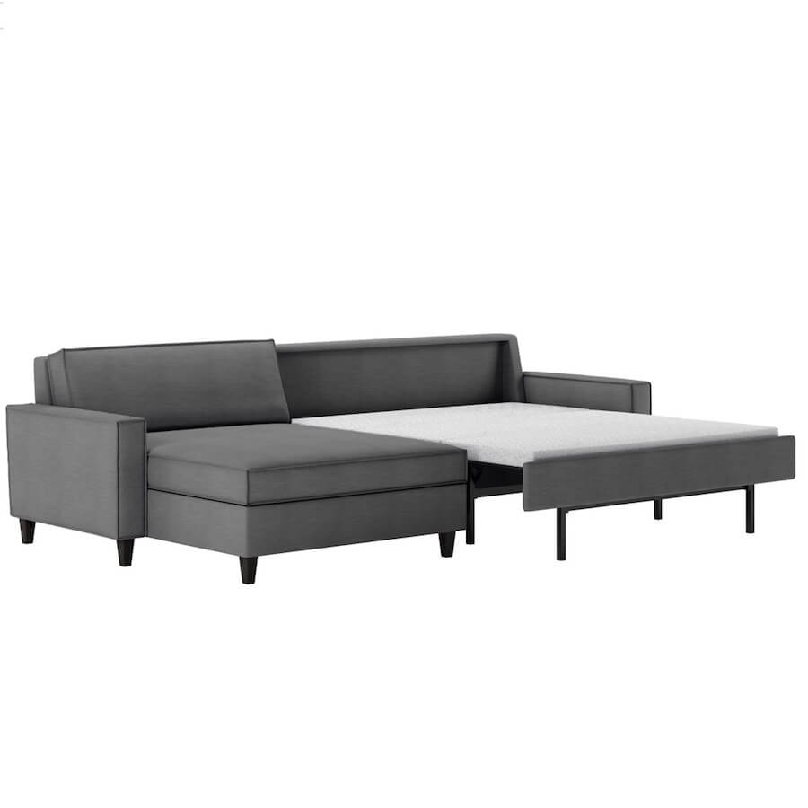 sofa bad modern furniture black leather mitchell comfort sleeper bed no bars springs sagging sectional american
