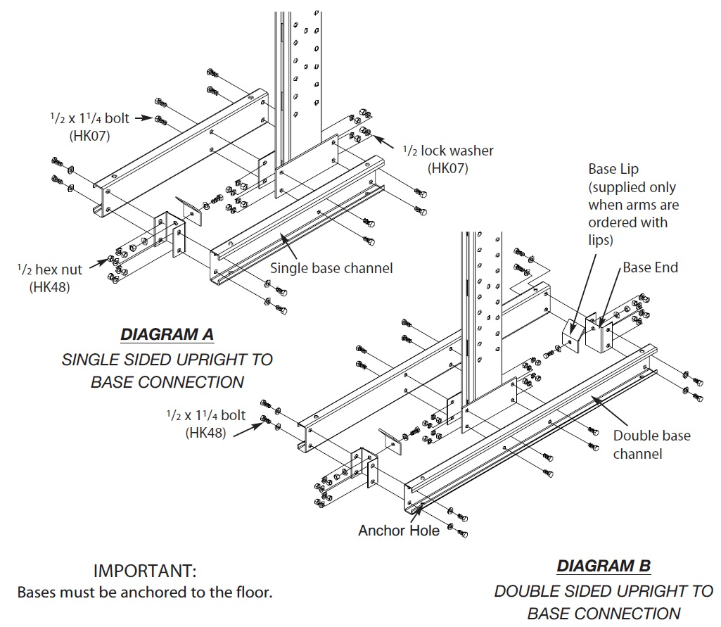 Series Medium Duty Cantilever Rack Assembly Instructions