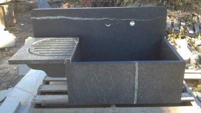 High Back Soapstone Farm Sink with Drainboard