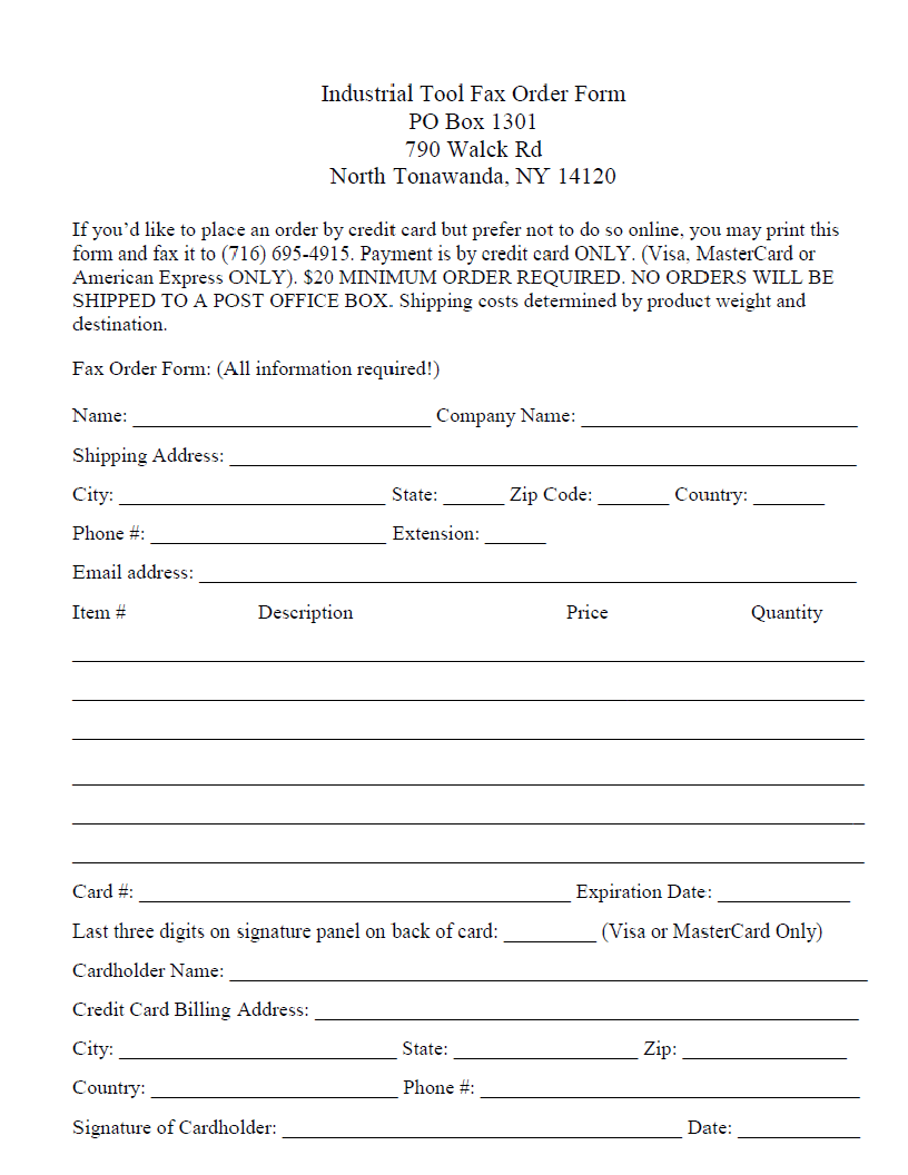 Print Out Our Order Form Now!