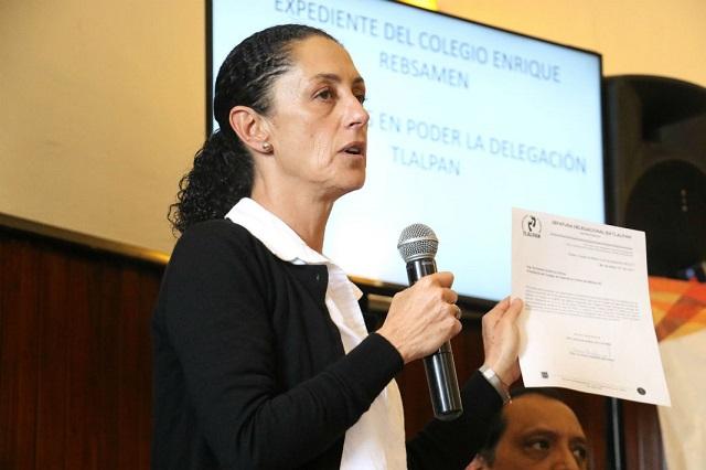 Exoneran a Claudia Sheinbaum por caso Colegio Rébsamen