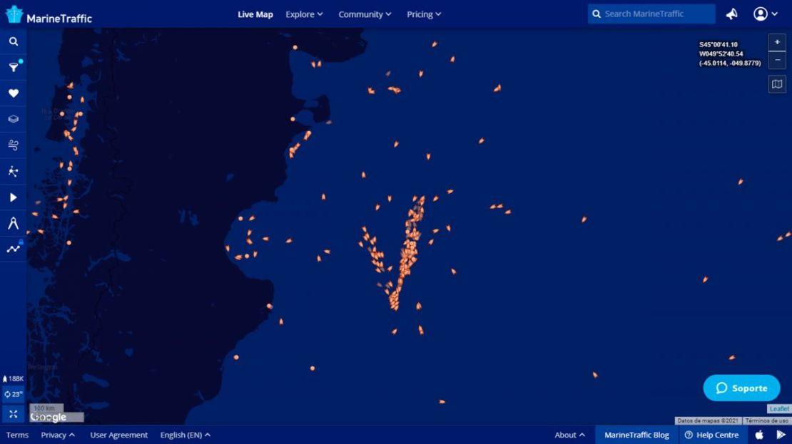 Presencia de buques pesqueros en la milla 201, el pasado 23 de febrero.