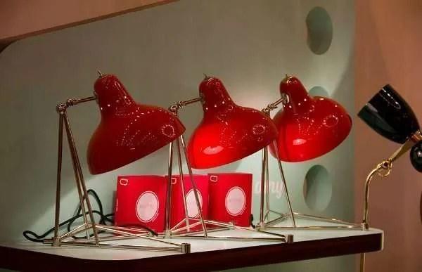Delightfull Diana tafellamp rood goud 3 naast elkaar