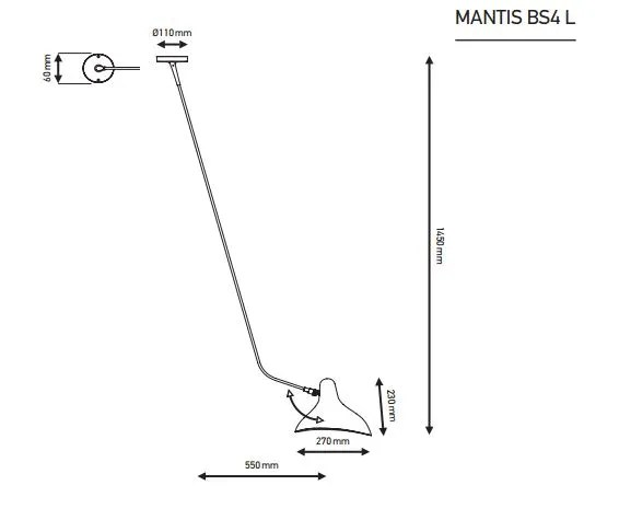 Mantis BS4 L wand lamp specificatie