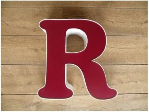 reclame letterlamp R rood wit